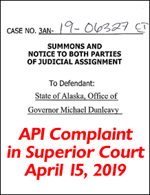 Complaint against the State of Alaska over API