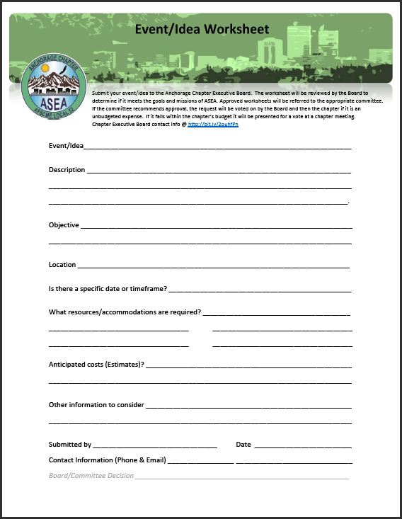 Anchorage Chapter Idea Worksheet