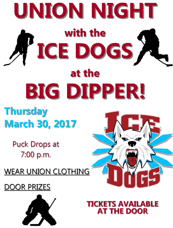 Union Night with Ice Dogs Hockey at the Big Dipper, Mar. 30