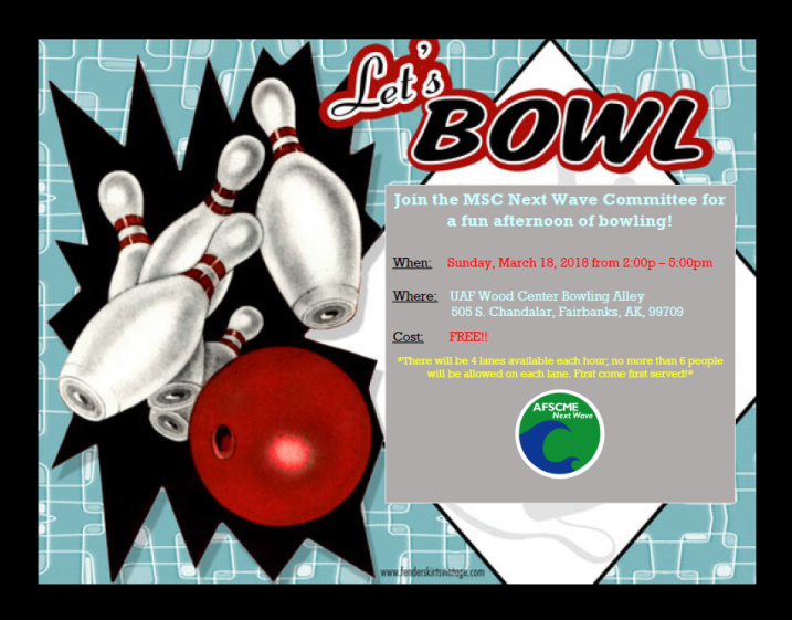 Midnight Sun Chapter Next Wave Committee Sunday Afternoon Bowling--March 18, 2018
