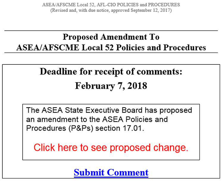 Proposed Revision to ASEA P&P